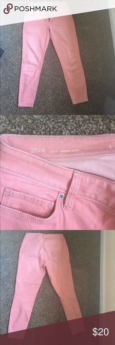 ‼️One Day Sale 50% Off!! Pink Curvy Skinny Ankle Ann Taylor Loft curvy skinny ankle pants in a beautiful light pink color.  Size 27 (size 4).  98% cotton 2% Spandex...feels like a light pair of jeans. ann taylor loft Pants Ankle & Cropped
