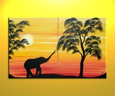African Elephant Silhouette Painting Sunset Tree Art Original Dusk Evening Sun over two Canvases Mood Setting Wall Art Custom Tree Silhouette Tattoo, Sunset Silhouette, Silhouette Painting, Elephant Silhouette, African Sunset, Elephant Canvas, Sunset Canvas, Tree Canvas, Paint And Sip