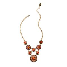 Hot orange! Add spice to crew neck tops and dresses with this boho inspired style. It's an accessory that can be worn year round. (Stitch Fix Pomona Colorblock Beaded Necklace)
