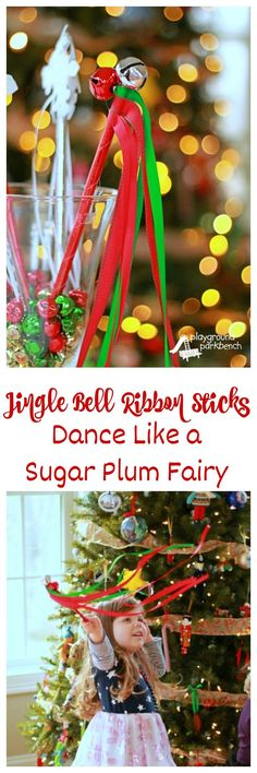 Have your tiny dancers dancing like a Sugar Plum Fairy in no time with these festive, holiday Jingle Bell Ribbon Sticks.  They make a great party favor for your Nutcracker-themed holiday party, a fun accessory for dance class, or even a great prop for your preschool holiday concert.  Part of our Plan the Perfect Nutcracker Party series.