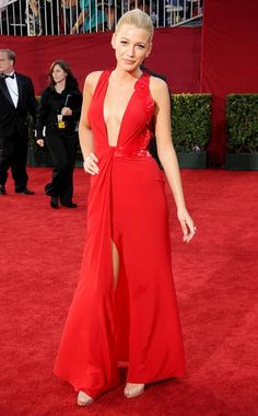 Who could possibly forget when Blake hit the 2009 Emmys red carpet in this  cut-down-to-there 07e80b0c5a05