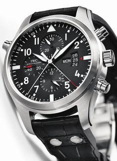IWC [NEW] Pilot's Watch Double Chronograph Black IW377801 (Retail:HK$95,000) - APRIL SURPRISE:- HK$58,150.