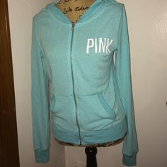 VS Pink Hoodie Light blue. Lightweight. Full zip. Size XS. Shows signs of pilling all throughout PINK Victoria's Secret Tops Sweatshirts & Hoodies