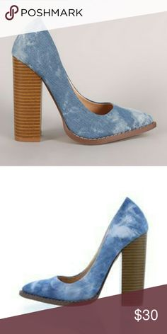 """Washed Denim Chunky Heeled Pumps NIB. . .This single sole pump features a washed denim upper, pointy toe silhouette, scooped vamp, and chunky stacked heel. Finished with lightly padded insole and easy slide style. Heel Height: 4.5"""" (approx)? Liliana Shoes"""