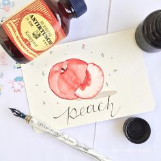 Ink Illustrations, Inktober, Peach, Instagram 4, Peaches