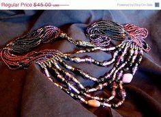 Sale Vintage Multi-Strand Necklace  Purple Seed by EstatesInTime