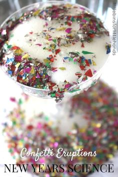 Confetti science activity perfect for kid's New Year's Eve celebrations and parties or New Years Day play. Confetti eruptions with baking soda science experiments for kids. Easy and fun New Years and New Year's Eve activities for kids.