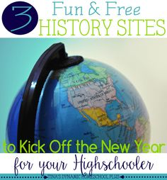 I am sharing 3 fun history  sites to kick off the new year for your highschooler. You know how easy it is to find activities for your kids in Kindergarten. And then it seems like when they hit the upper grades and especially highschool that learning is suppose to somehow get less — well– fun.  No way, if I have something to say about it. Look at these three websites below, which I rounded up for high school teens. Scoot by to grab them! | Tina's Dynamic Homeschool Plus