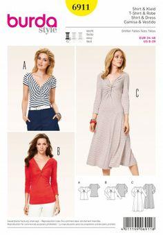 Burda - 6911 patroon Top en jurk met diepe V-hals | Naaipatronen.nl | zelfmaakmode patroon online