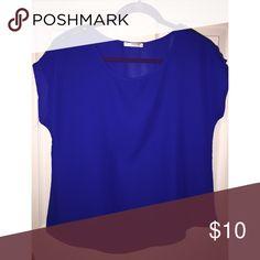 Agaci Blue blouse with zipper detail on shoulders Agaci Tops