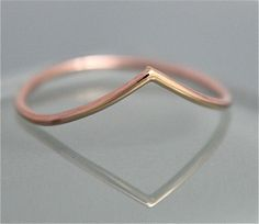 Chevron Wave 14k SOLID Rose Gold Stacking by tinysparklestudio
