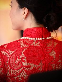 Chinese Wedding Dress red lace back