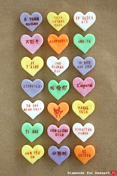 Multilingual Conversation Hearts from Diamonds for Dessert. Valentines Day Messages, Be My Valentine, Vietnamese Alphabet, Mahal Kita, Conversation Hearts Candy, Learn Portuguese, Converse With Heart, Love Words, Just Love