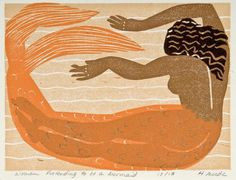 Woman Pretending to be a Mermaid - 6x8 4 color linocut - Holly Meade