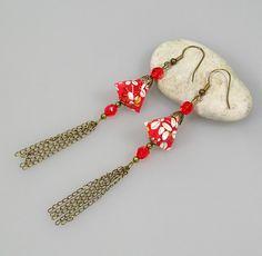Boucles d'oreille DIAMAND origami en papier japonais Washi Chiyogami rouge et blanc : Boucles d'oreille par terredepassion
