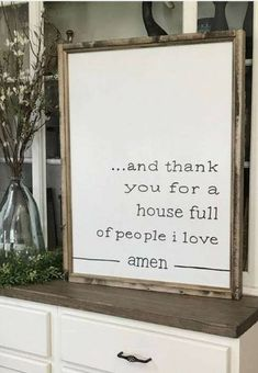 And Thank You For A House Full Of People I Love Amen Farmhouse Style Framed Sign