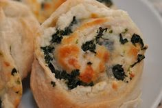 Spinach Ricotta Pinwheels.  Four ingredients, super easy, and my toddler liked them!