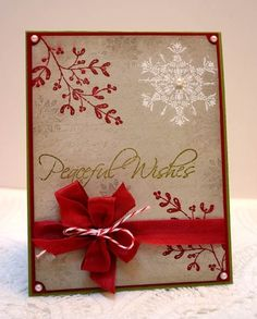 handmade Christms card from Inspiration Lane  ... luv the white and red stamping on kraft ... gold embossed sentiment ...
