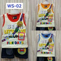 Kode: WS-02 Motif: Fine Days Varian warna: merah, orange, biru.  Kaos Singlet Celana jeans. . . ===================================== . Bagi yang memiliki anak atau keponakan yang masih BALITA, ada kaos dan celana lucu dan bergambar karakter kartun. Pas banget untuk dikasih kado ^_^  Kenapa beli di kami? . . * Bahan cukup tebal dengan warna-warna yang menarik :) . . * Nyaman dipakai pada saat santai, bahan katun yang tebal & tidak panas pada saat digunakan. Cocok banget buat jalan-jalan dan…