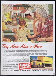 1946 GMC Truck Moving Movers Knitting Doll Art Ad