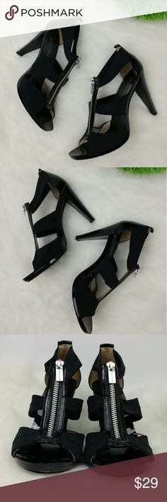 """MICHAEL Michael Kors black front zip sandal heels MICHAEL Michael Kors black front zip sandal heels 3-3/4"""" heel There is some light hair thin scratches throughout the sole/heel platform and more visible ones in the front.You could maybe use some black nail polish or marker to color it in? Still look great. MICHAEL Michael Kors Shoes Heels"""