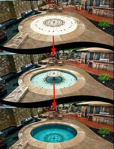 Elevator floor allows this patio to become a shallow kiddie pool with table, or a full depth play pool for swimming...
