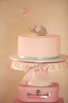 Love for a baby shower, pink circus cake... If its a girl!