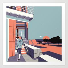 Sunset at the Getty Art Print by Munamia | vectorart | print | graphic design | minimalist drawing | illustration | poster | wall art | dorm wall art | architecture | Los angeles | getty museum | architecture