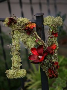 Moss covered letter: Loved this project, ended up using burlap ribbon to hang on the front door!