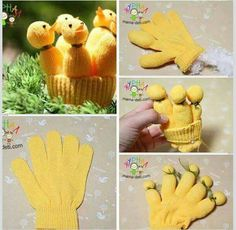 Fun DIY Easter decoration - five chicks from a yellow glove. Can be adapted for other holidays (e. Christmas - red glove needed for five cute dwarfs). And remember - googly eyes make everything look more awesome! Yellow Gloves, Red Gloves, Diy Osterschmuck, Fun Diy, Different Birds, Diy Ostern, Diy Easter Decorations, Sock Animals, Spring Crafts