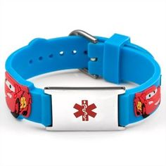 Cars Blue Rubber And Stainless Steel Kids Medical Id Bracelet Con Heart Defect Epilepsy