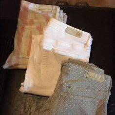 Ag jeans Top pair are 26s the other two are 25s super cute Nvr worn I paid 160 a peace for these an decided I wanted to be bigger hahha chevron, white and grey with poka dots all all skinny to the ankle AG Adriano Goldschmied Jeans Skinny