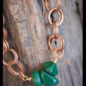 Hammered Copper and Jade Necklace
