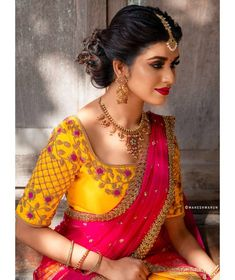 Stylish And Trendy Blouse Designs For Lehenga - Indian Fashion Ideas Wedding Saree Blouse Designs, Half Saree Designs, Silk Saree Blouse Designs, Wedding Sarees, Wedding Blouses, Hand Work Blouse Design, Simple Blouse Designs, Stone Work Blouse, Traditional Blouse Designs