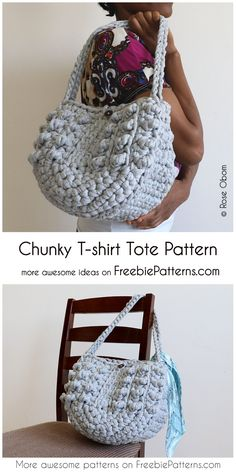 Crochet Purses Patterns Chunky T-shirt Tote Free Pattern - Have you ever tried to do something with recycled shirts? I have a great idea for you! This capacious bag uses a beautiful stitch. Crochet Handbags, Crochet Purses, Crochet Hats, Crochet Flower Patterns, Crochet Blanket Patterns, Free Crochet Purse Patterns, Crochet Backpack Pattern, Crochet Flowers, Crochet Shell Stitch