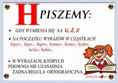 Plansze z zasadami ortograficznymi dla uczniów klas I-III | Dla Belfra Aa School, Back To School, Polish To English, Learn Polish, Poland History, Polish Language, School Motivation, Our Kids, Teaching English
