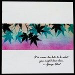 handmade artsy card ... panpastels panel with stamped Japanese maple leaves ...
