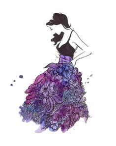 Artwork ... very girly very pretty a watercolor fashion illustration #flowerdress #painting