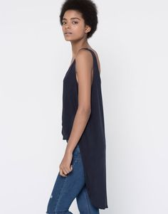 Pull&Bear - woman - new products - knotted tank top - navy - 05239387-V2016