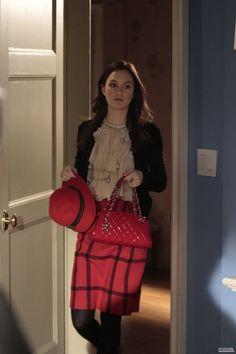Blair_Jill Stuart blouse.  Tucker skirt.  Dolce & Gabbana cardigan.  Alexander McQueen coat.  Ikasho hat.   Louis Vuitton necklace.   Chanel bag