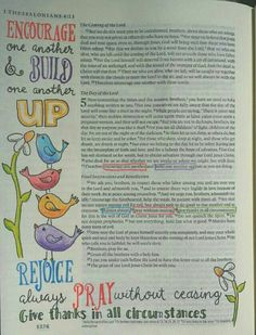 Thessalonians- Encorage one another - Bible art journaling by @Peggy Thibodeau www.peggyart.com Inspired by whimsyartstudios.com