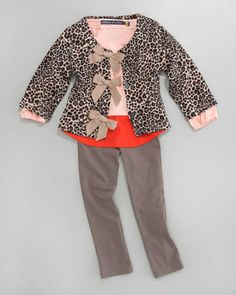 Leopard-Print Cardigan & Basic Leggings - Neiman Marcus #pinparty #bows cats, girl cloth, colors, leopardprint cardigan, leopards, bows, neiman marcus, leggings