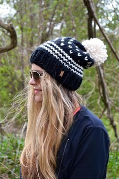 The Bergen Fair Isle Pom Pom Women s Beanie Hat Cap Toque Hand Knitted  Seamless Soft Wool Blend Black Ivory 0429efd7fb95