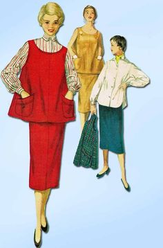1950s Vintage Simplicity Sewing Pattern 4847 FF Misses Maternity Skirt & Top…