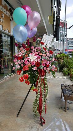 Flower Chart, Modern Flower Arrangements, Balloon Flowers, Flower Stands, Arte Floral, Wedding Reception Decorations, Grand Opening, Fresh Flowers, Wedding Cakes