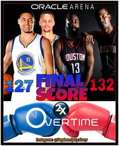 Final: Double-Overtime  at Oracle Arena ... Dubs and the Rockets left it all out on the floor. In the end the Warriors fell to the Rockets 132-127. The Dubs' winning streak ends at 12 in a row. The Dubs were a little off with Steph and Dray foulling out in overtime and there were questionable calls from the officials. In spite of that tonight's game was a nail-biter right to the end. Time for the Dubs to start a new streak! The Warriors still have the best record in the NBA at 16-3. Next…