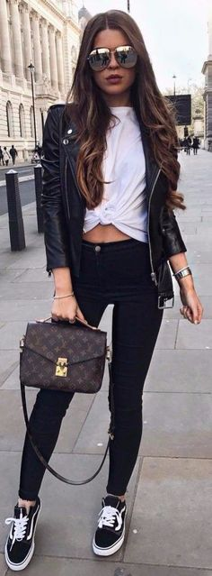 woman wearing white shirt with black leather zip-up jacket. Casual fall fashion outfits summer outfits copy asap skirt and eans outfits 2019 casual day outfits classic business clothes Fashionable To Copy For Stylish Women Mode Outfits, Outfits For Teens, Sport Outfits, Fashion Outfits, Womens Fashion, Fashion Trends, Ootd Fashion, Fashion Ideas, Travel Fashion
