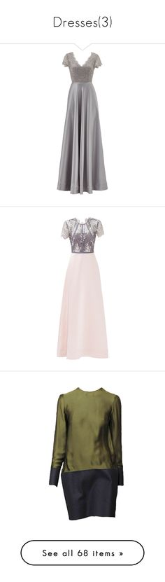 """""""Dresses(3)"""" by remington-offical ❤ liked on Polyvore featuring dresses, gowns, gown, long dress, silver, long v neck dress, long sleeve dress, long dresses, silver gown and v-neck dresses"""