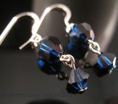 Night Blue 007 SPY Earrings sterling & by RosemaryLucyDesigns, $49.00
