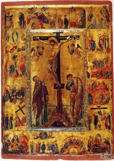 Orthodox icon of the Crucifixion of our Lord Jesus Christ with scenes of His life. Copy of an icon of 12 cent. Religious Images, Religious Icons, Religious Art, Crucifixion Of Jesus, Jesus Christ, Savior, Religion Catolica, Jesus Painting, Byzantine Icons